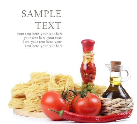 Pasta with an olive oil and tomatoes photo