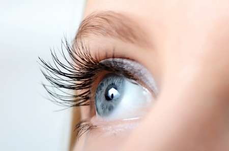 eyes looking up: Female eye with long eyelashes close up Stock Photo