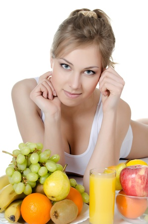 The beautiful girl with fruit and vegetables Stock Photo - 20674542