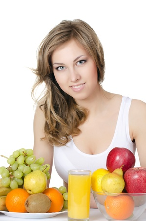 The beautiful girl with fruit and vegetables Stock Photo - 20674546