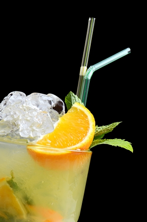 The freshening cocktail with ice and mint photo