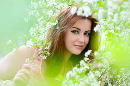 The beautiful woman in flowers of cherry photo