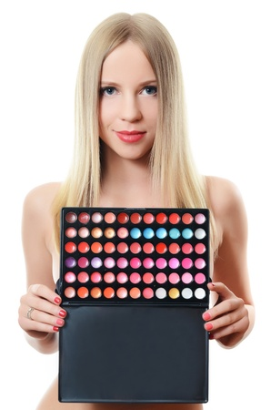The beautiful woman with palette eye shadow Stock Photo - 21434825