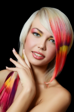 strand of hair: Woman with bright make-up and multi-coloured strand in hair