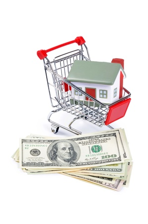 toy house for dollar banknotes as background Stock Photo - 21697566