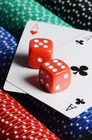gambling counter: Double aces with big stack and dice