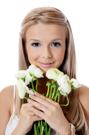 Girl with beautiful hair with white flower Stock Photo - 21698638