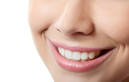 nice smile: Healthy woman teeth and smile. Close up Stock Photo