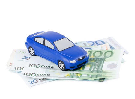 pricey: Toy car for euro isolated on white Stock Photo