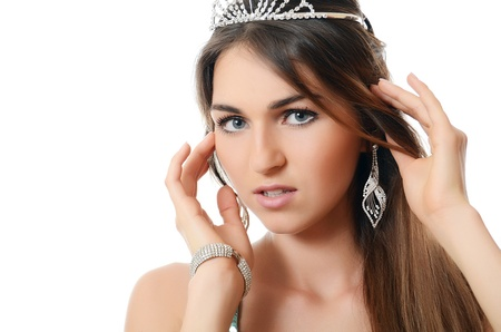 The beautiful woman with tiara on head photo
