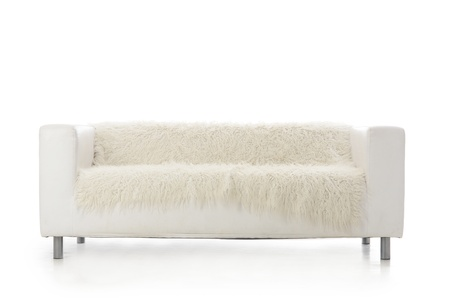 The white sofa isolated on white background photo