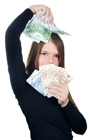 The beautiful girl with euro banknotes isolated photo