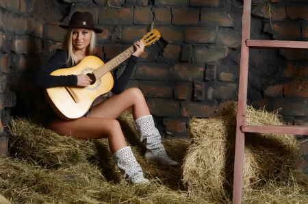 The woman with a guitar on hay photo