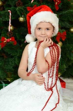 The little girl at a christmas fur-tree photo