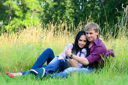 enamoured: The enamoured young pair on the nature