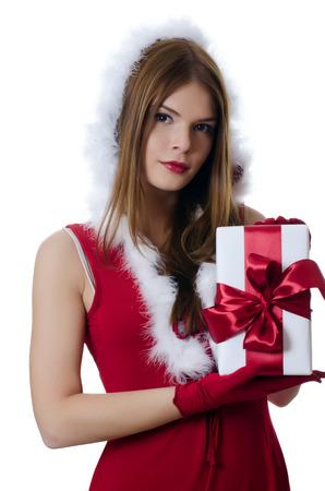 christmas girl: The Christmas girl with boxes of gifts