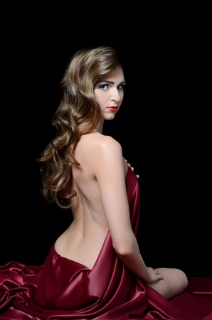 The woman with long hair in silk photo