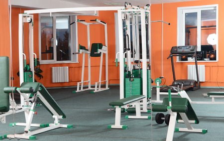 sports hall: Sports hall with training apparatus a background