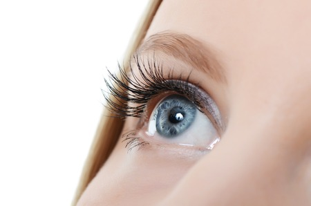 Female eye with long eyelashes close up Stockfoto