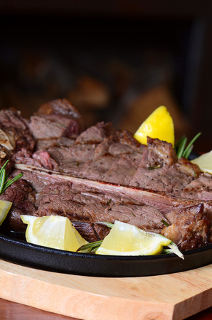 mutton: the stake from mutton with a lemon