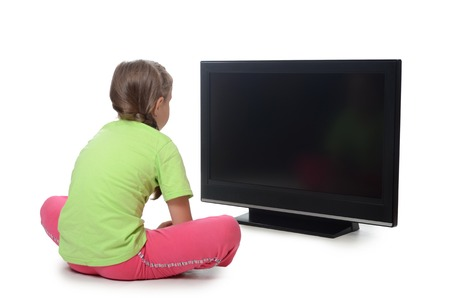 game viewing: The little girl looks lsd tv isolated