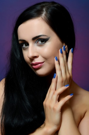 goth girl: Portrait of beautiful woman - Creative make-up Stock Photo