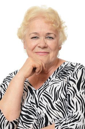 damas antiguas: Retrato de anciana aislado en blanco
