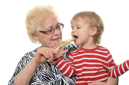 two year old: The elderly woman with the little grandson