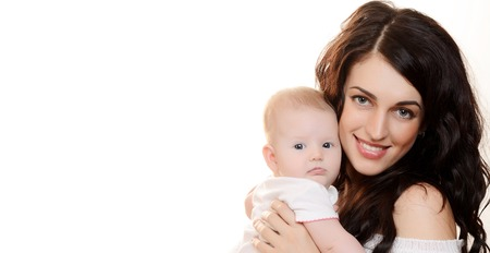 The happy mother with baby on white background photo