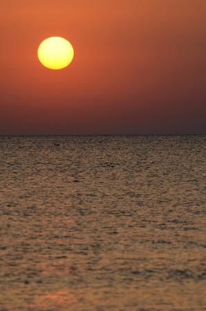 Landscape in Tunisia, sunrise on the beach photo