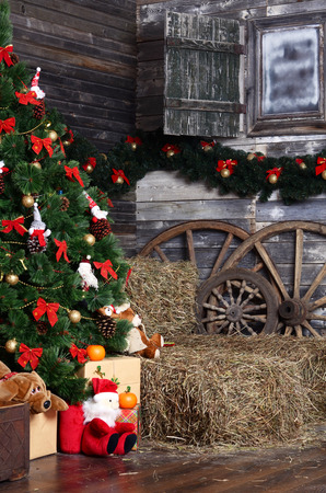 The christmas fur-tree in a rural interior photo