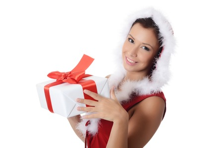 The Christmas girl with boxes of gifts isolated photo