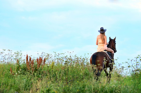 girl on horse: The woman on a horse in field