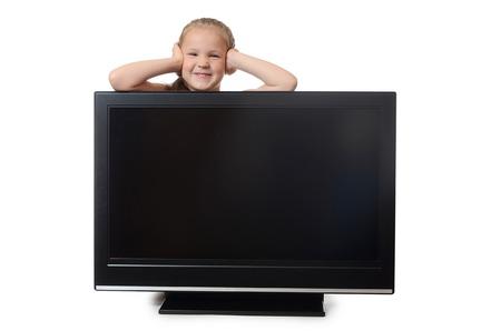 lsd: The little girl hides for lsd isolated Stock Photo