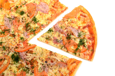 removed: Pizza with a slice removed. Isolated on white Stock Photo
