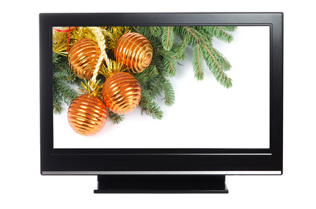 lcd: plasma or lcd television with Christmas decoration