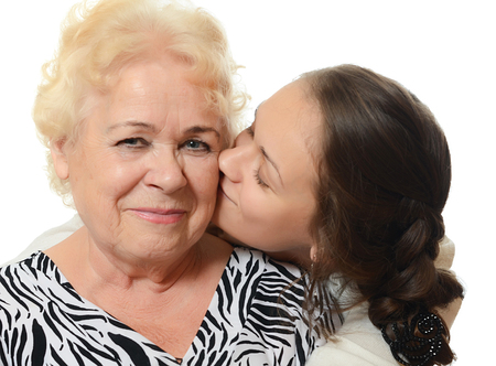 grand daughter: The elderly woman with the grand daughter
