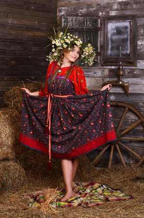 Beautiful woman portrait in russian style. Beautiful Russian girl in traditional dress. Russian style. photo