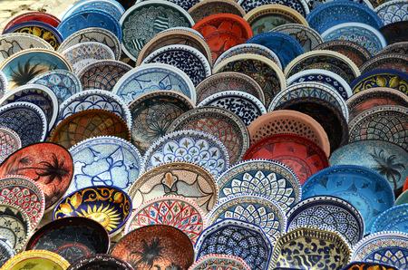 sidi bou said: multicolor sovenir earthenware in tunisian market, Sidi Bou Said, Tunisia Stock Photo