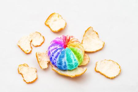 colored mandarin orange on white background 版權商用圖片