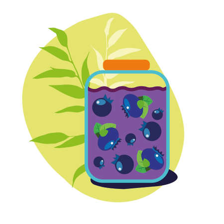 A jar of purple blueberry jam with traced berries and a yellow background. Flat style