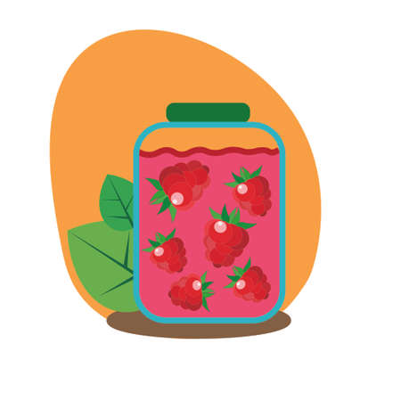 Glass jar with raspberry jam on an orange background, with traced raspberries. Flat style, vector Ilustração Vetorial