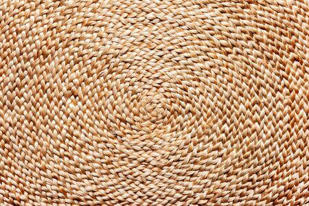 Natural fiber weaving texture. Placemat close-up. Archivio Fotografico