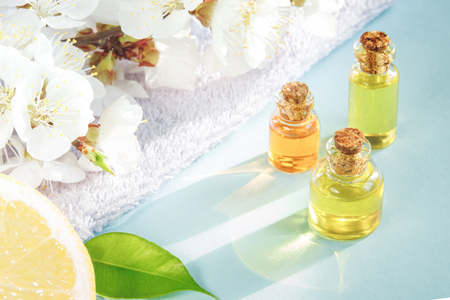 Spring aromatherapy with citrus, essential oils and flowers