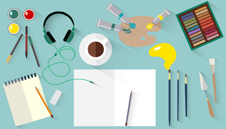 work space: Designers or artists work space. Flat vector illustration.