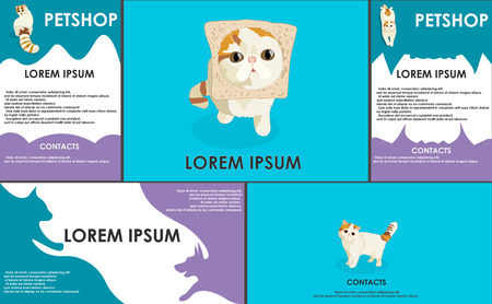 set form: cats. stylized pets set. Form style. Useful for petshop, store, webstore. Vector contains banner, business card and two booklets. soft colors Illustration