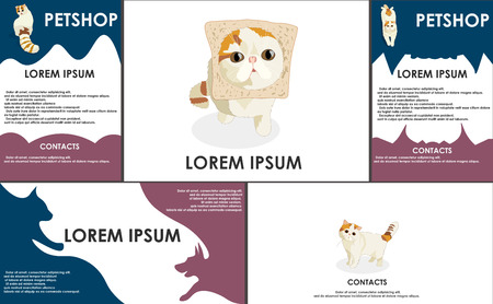 useful: cats. pets set. Form style. Useful for petshop, store, webstore. Vector contains banner, business card and two booklets. dark colors