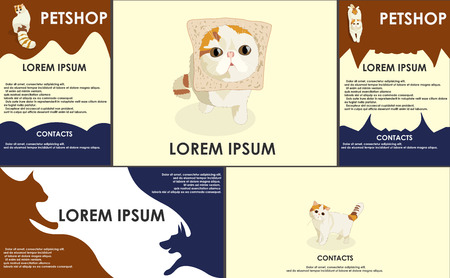 set form: cats. stylized pets set. Form style. Useful for petshop, store, webstore. Vector contains banner, business card and two booklets. dark colors Illustration