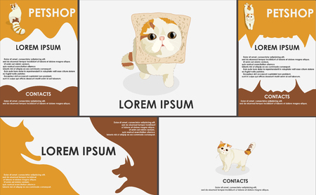 set form: cats. stylized pets set. Form style. Useful for petshop, store, webstore. Vector contains banner, business card and two booklets. original colors