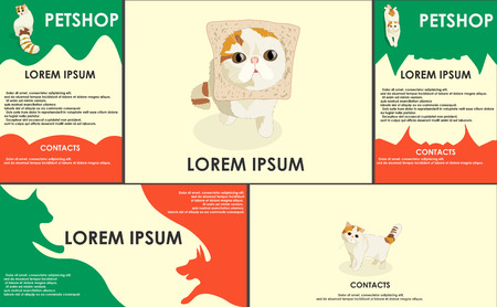 useful: cats. stylized pets set. Form style. Useful for petshop, store, webstore. Vector contains banner, business card and two booklets. red and green colors